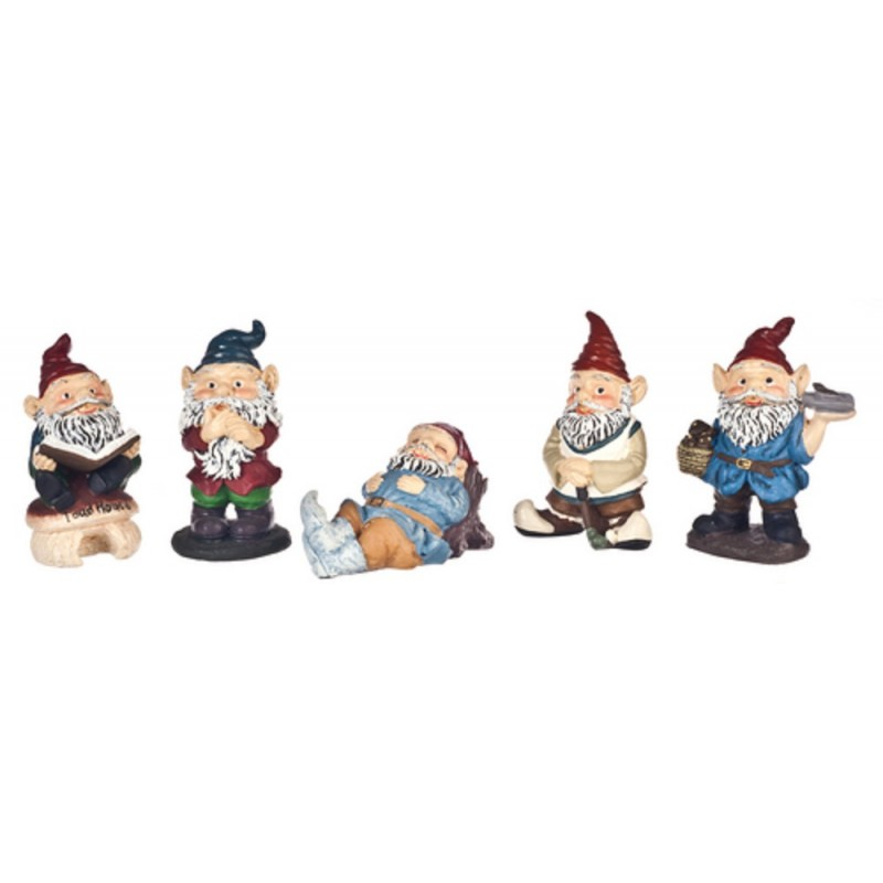 Dolls House Miniature Accessory Set of 5 Garden Gnome Ornaments
