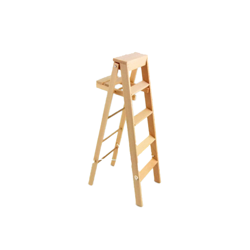 Dolls House Tall Step Ladders with Paint Shelf Miniature Accessory Natural Wood