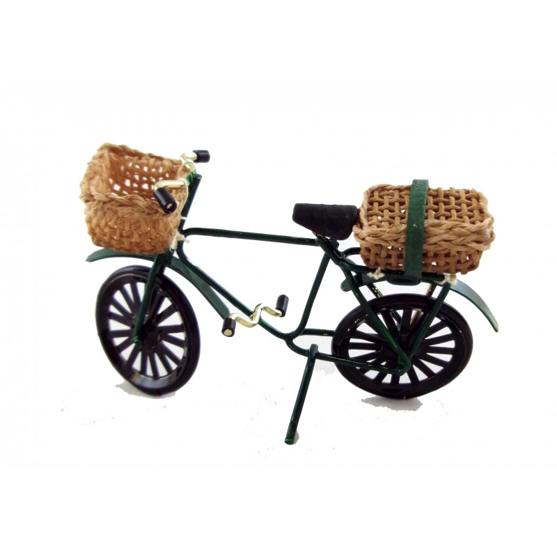 Dolls House Miniature Hand Made 1:12 1940`s Childs Bike with Basket and Satchel