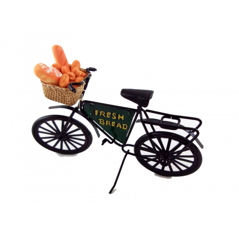 Dolls House Miniature Outdoor Accessory Bakers Shop Bicycle Fresh Bread Bike