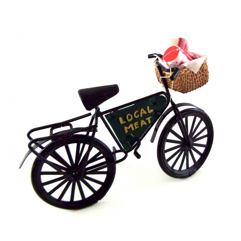 Dolls House Miniature Outdoor Accessory Butchers Shop Bicycle Local Meat Bike