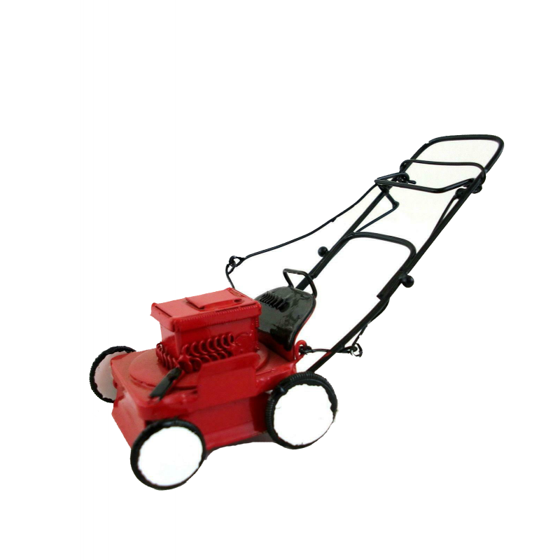 Dolls House Miniature Garden Accessory Red Power Lawnmower