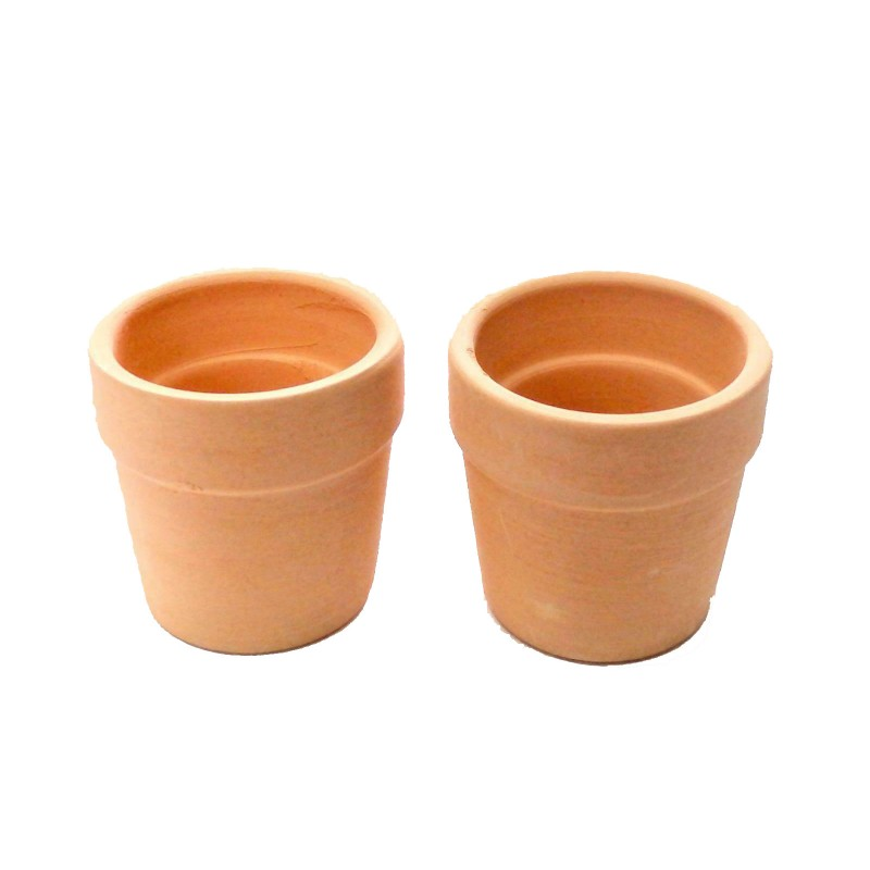 Dolls House 2 Large Clay Terracotta Plant Pots Garden Accessory