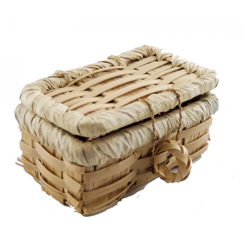 Dolls House Wicker Picnic Hamper Woven Basket with Lid Miniature Accessory