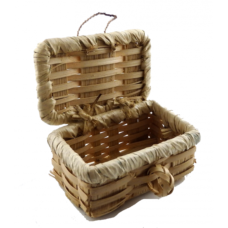 Dolls House Picnic Hamper Wicker Woven Basket with Lid Miniature Accessory LT