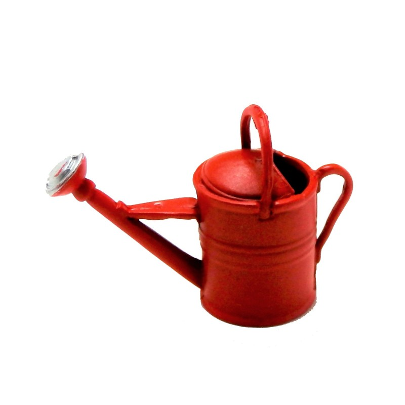 Dolls House Red Watering Can Miniature Garden Accessory Metal