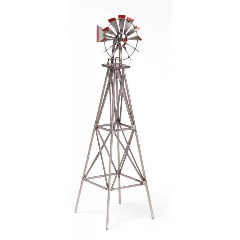 Dolls House Miniature Garden Outdoor Furniture Silver and Red Metal Windmill