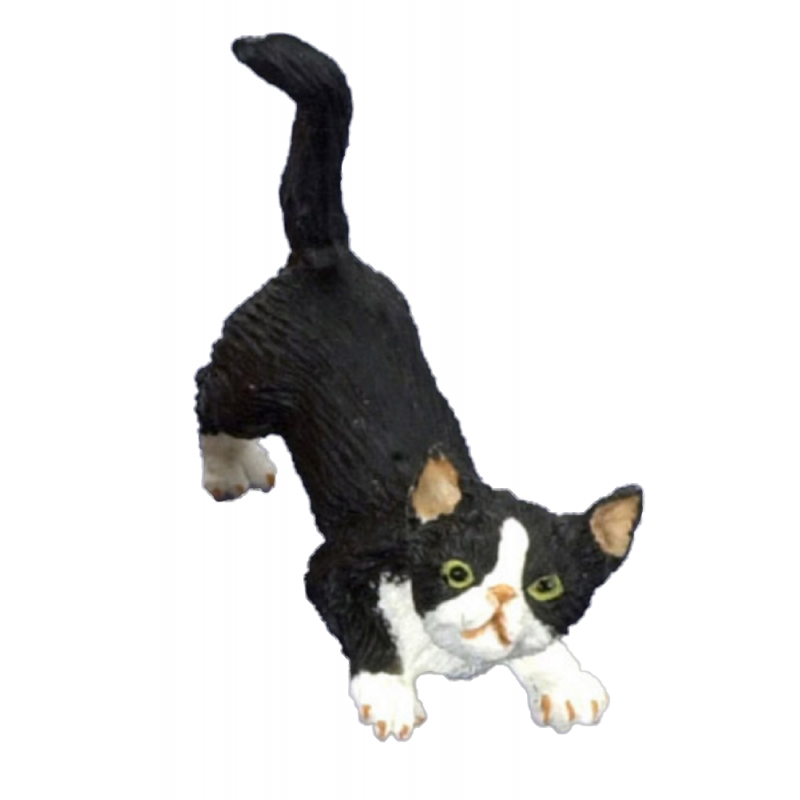 Dolls House Black Cat with White Socks Sniffing the Ground Miniature 1:12 Pet