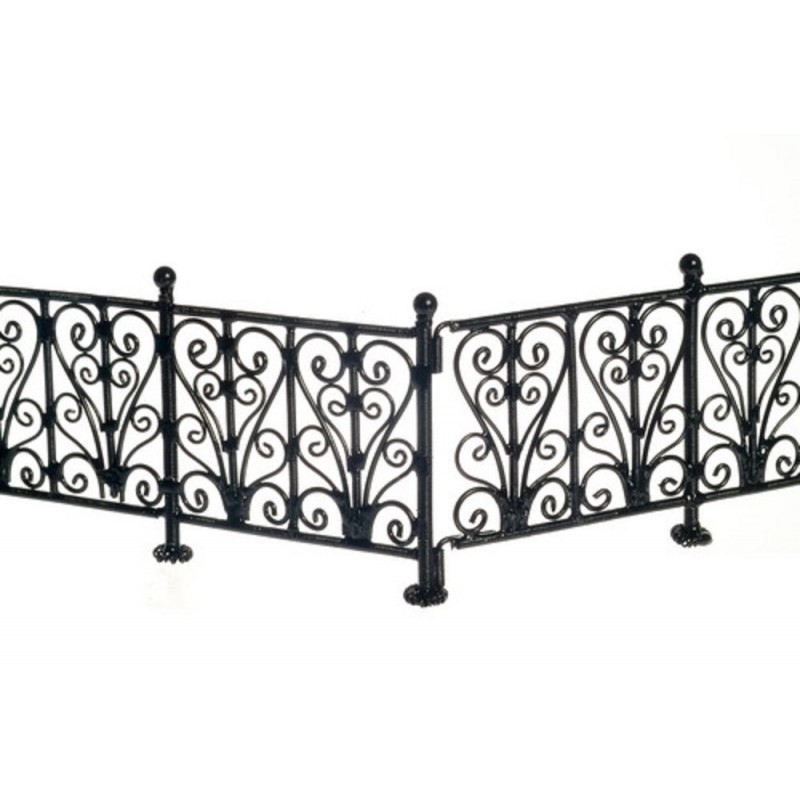 Doll House Miniature Garden Furniture Black Wire Wrought Iron Fence Railings