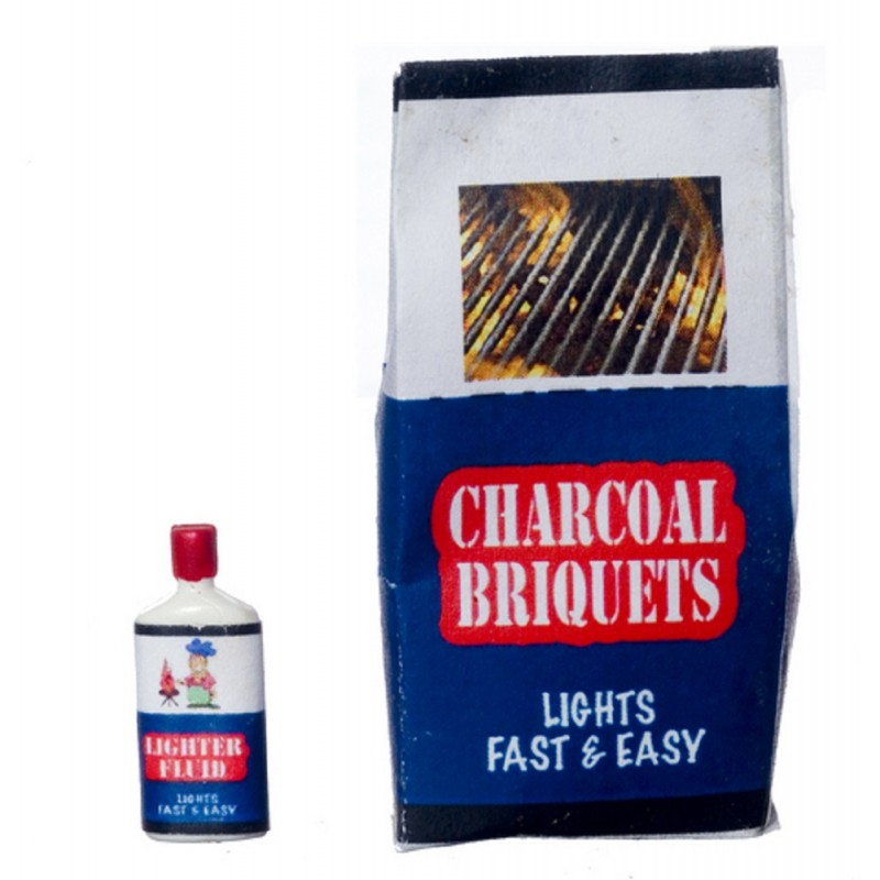Dolls House Charcoal Briquets & Fluid BBQ Barbeque Miniature Garden Accessory