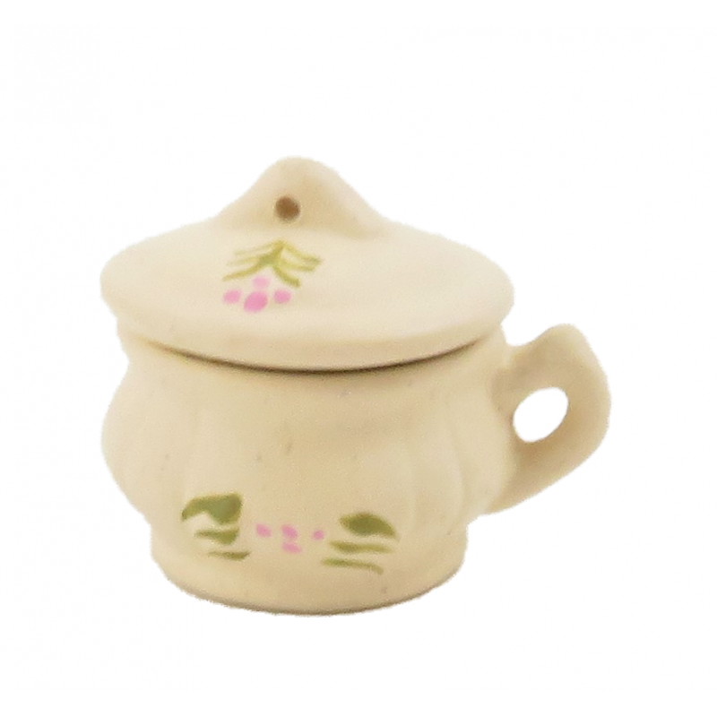 Dolls House Cream Floral Covered Chamber Pot Potty Victorian Bedroom Accessory