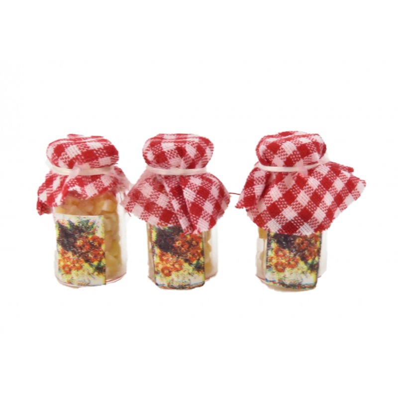 Dolls House Crunchy Honey Jars Red Gingham Tops Kitchen Shop Store Accessory