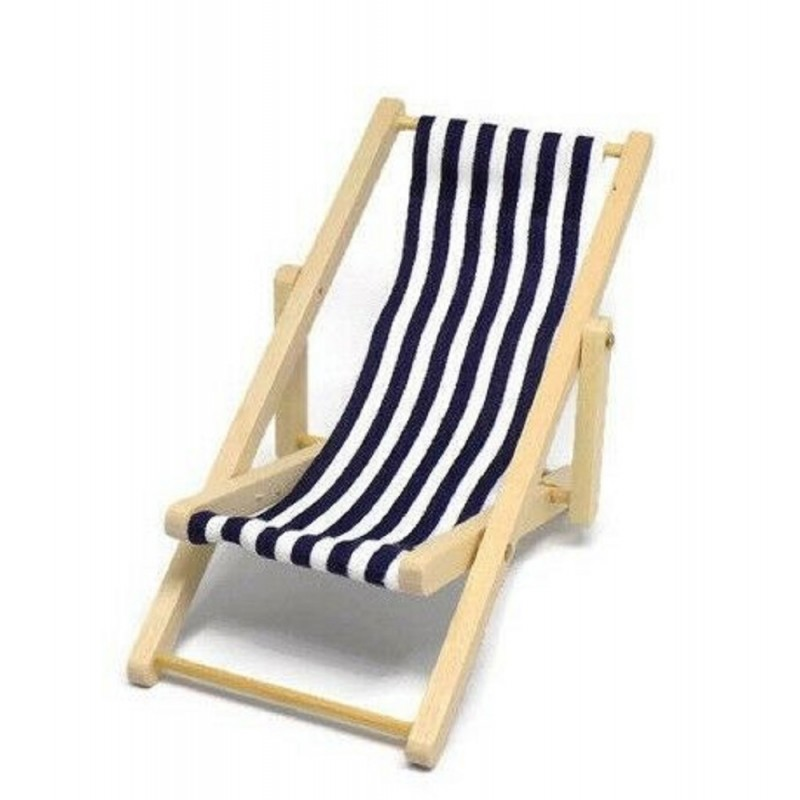 Dolls House Miniature Garden Beach Furniture Navy Blue Stripe Folding Deck Chair