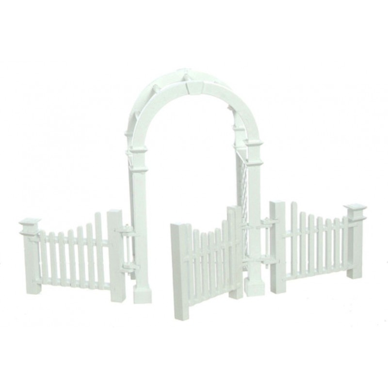 Melody Jane Dolls House Miniature Garden White Wooden Arbour with Gate & Fences