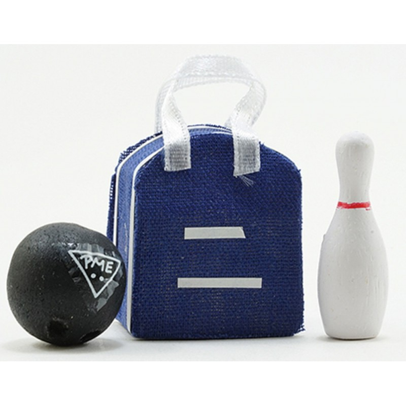 Dolls House Miniature 1:12 Scale Accessory Bowling Bag Ball and Skittle Set