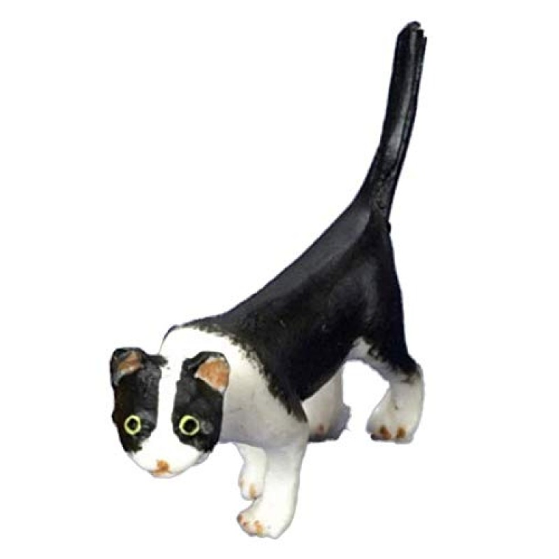 Dolls House Black & White Cat Walking 1:24 Scale Half Inch Pet Animal