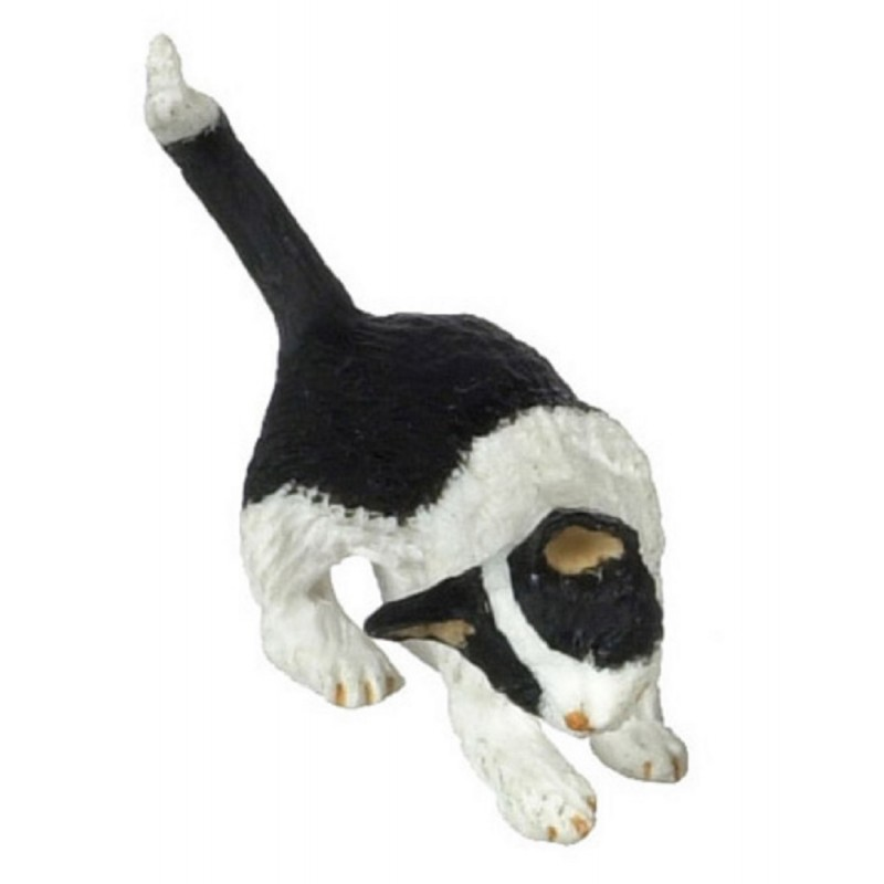 Dolls House Black & White Cat Rubbing Right Side Miniature 1:12 Scale Pet Animal