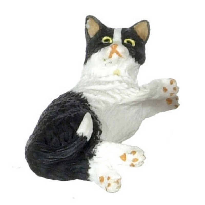 Dolls House Black & White Cat Lying on Side Miniature 1:12 Scale Pet Animal