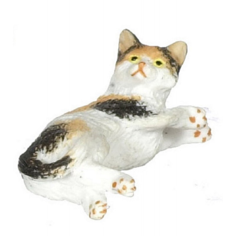 Dolls House Calico Cat Lying on Side Miniature 1:12 Scale Pet Animal