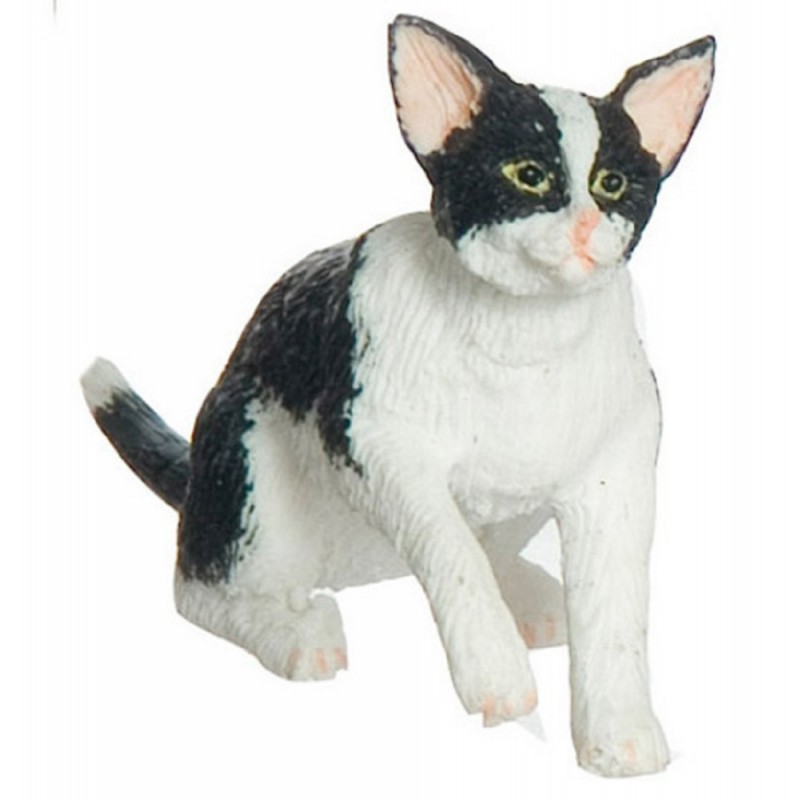 Dolls House Black & White Cat Grabbing Miniature 1:12 Scale Pet Animal