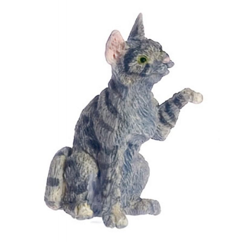 Dolls House Grey Cat One Paw Up Miniature 1:12 Scale Pet Animal