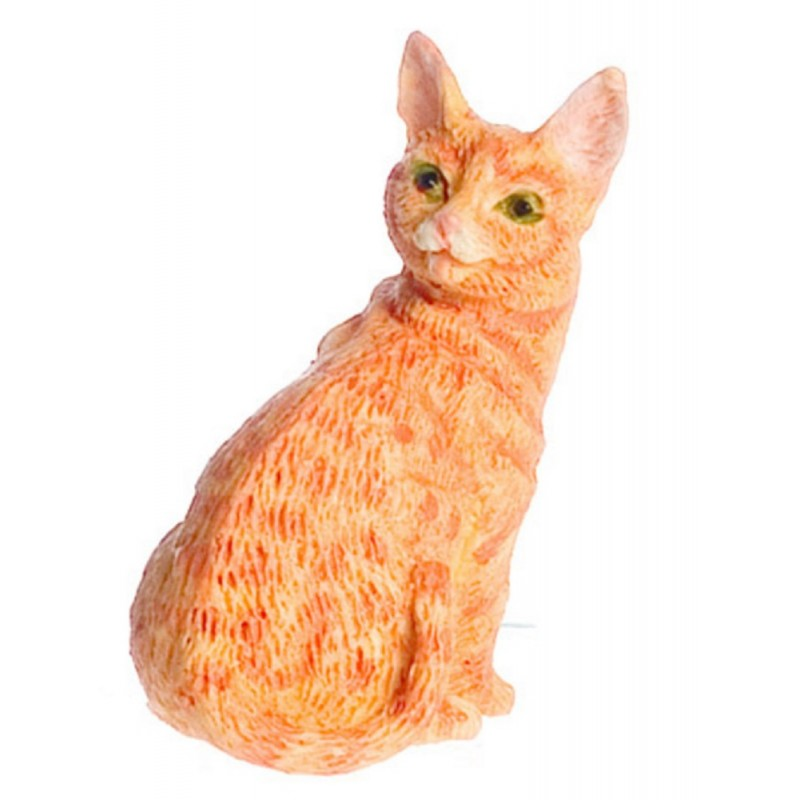 Dolls House Orange Cat Sitting Up Looking Back Miniature 1:12 Scale Pet Animal