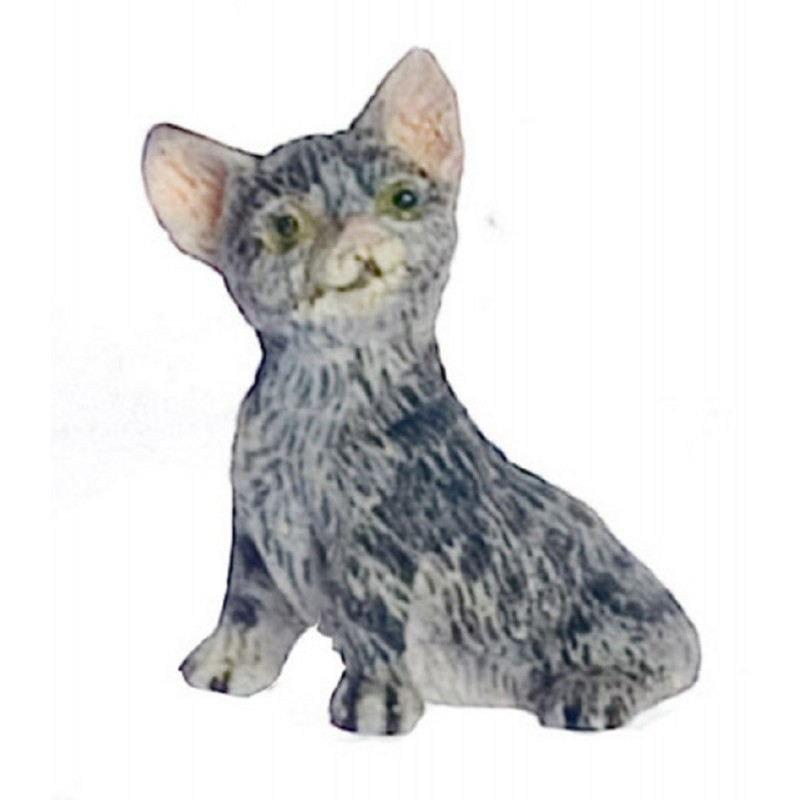 Dolls House Grey Kitten Sitting Falcon Miniature Accessory Pet Cat 1:12 Scale