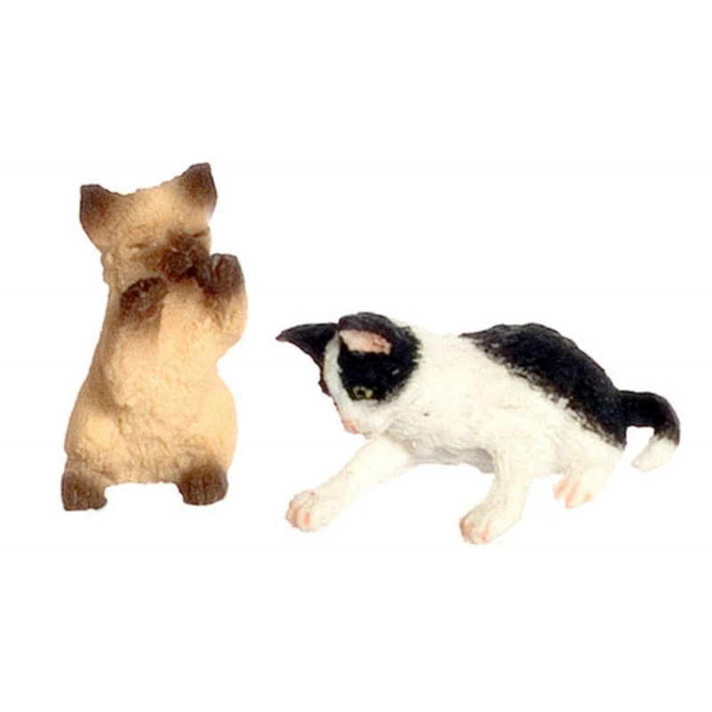 Dolls House Siamese Kitten & Black & White Kitten Playing 1:12 Accessory Pets