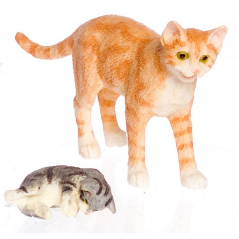 Dolls House Orange Mother Cat & Her Kitten Falcon Miniature Accessory 1:12 Pets