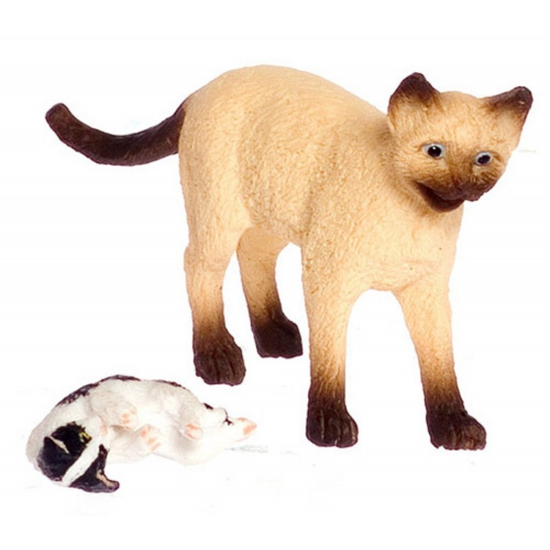 Dolls House Siamese Mother Cat & Her Kitten Falcon Miniature Accessory