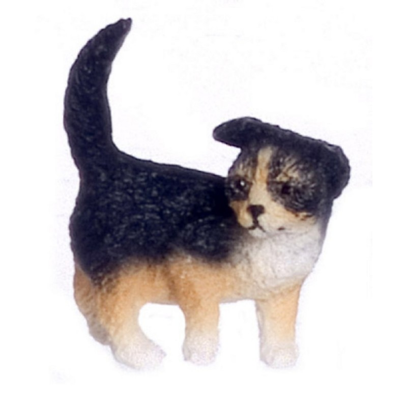 Dolls House Black Brown Puppy Standing One Ear Down Miniature Pet Dog