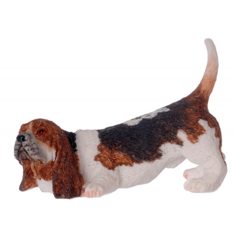 Dolls House Basset Hound Sniffing Miniature Pet Dog 1:12 Scale