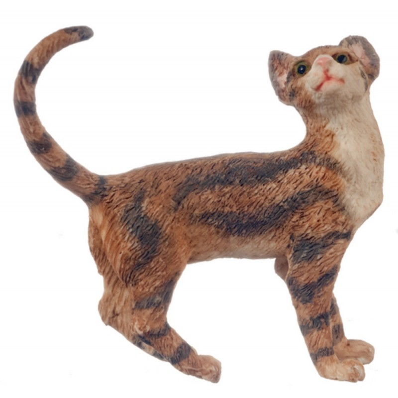 Dolls House Brown Cat Standing Looking Back Tail Curl 1:12 Pet