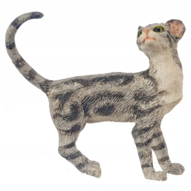 Dolls House Grey Cat Standing Looking Back Tail Curl 1:12 Pet