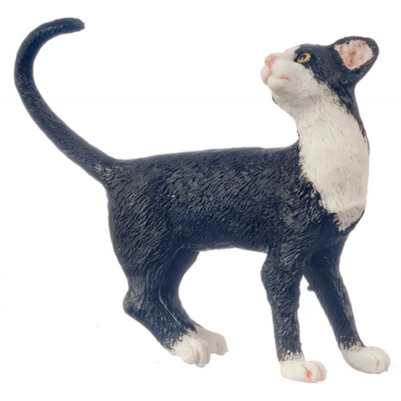 Dolls House Black Cat White Socks Standing Looking Back Tail Curl 1:12 Pet