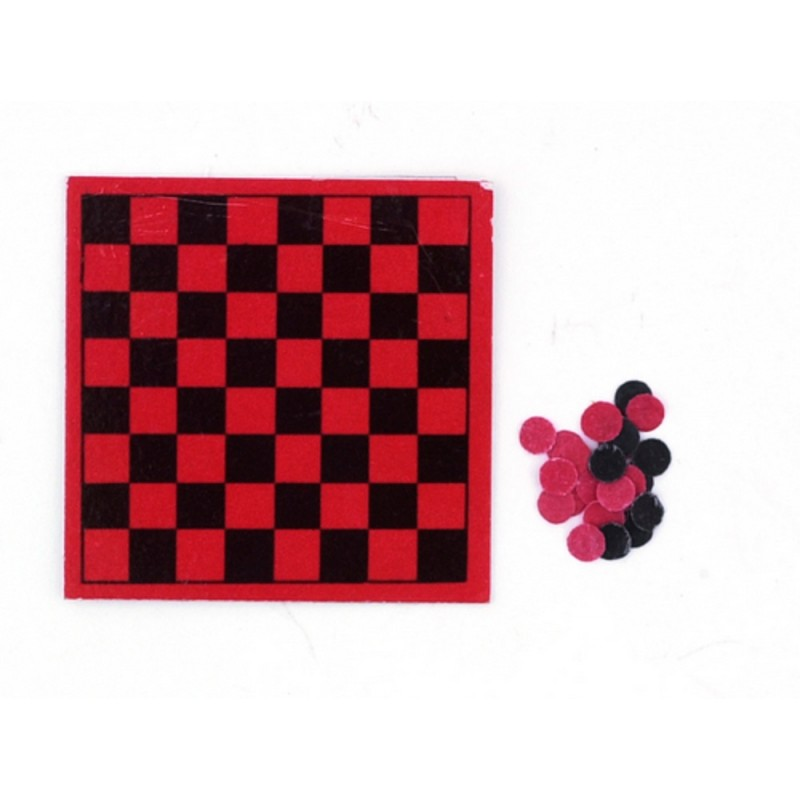 Dolls House Checkers Draughts Set Miniature Board Game 1:12 Study Accessory