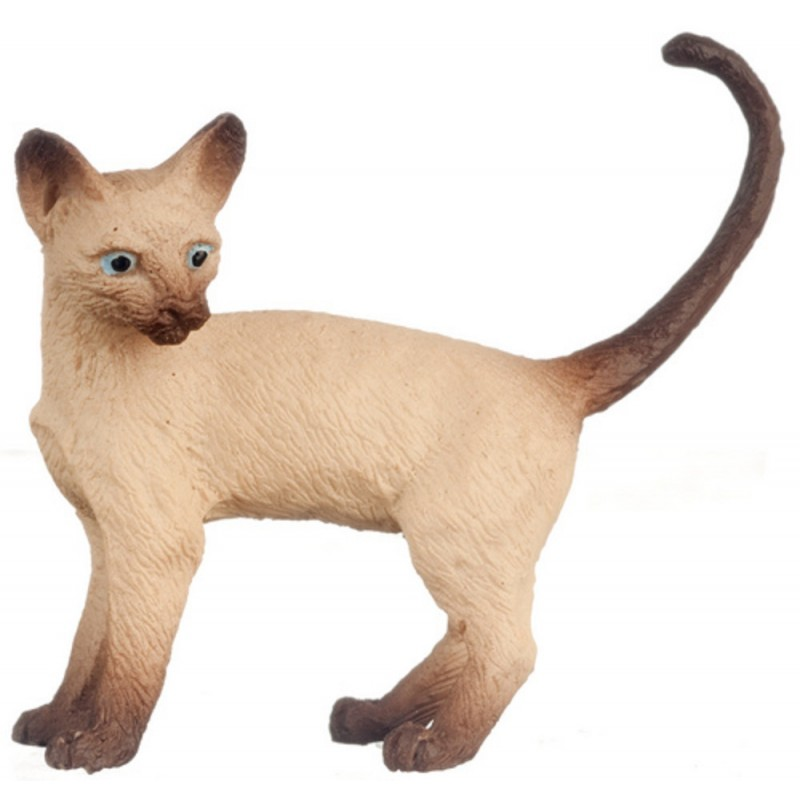 Dolls House Siamese Cat Standing Looking Left Tail Up 1:12 Miniature Pet