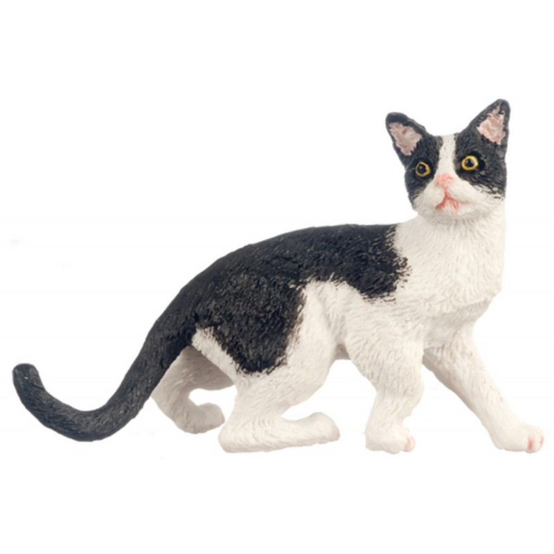 Dolls House Black & White Cat Walking but Startled 1:12 Scale Miniature Pet