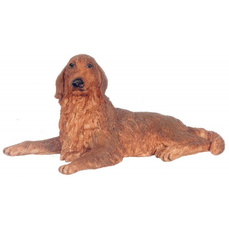 Dolls House Brown Irish Setter Lying Down Miniature Pet Dog 1:12 Scale
