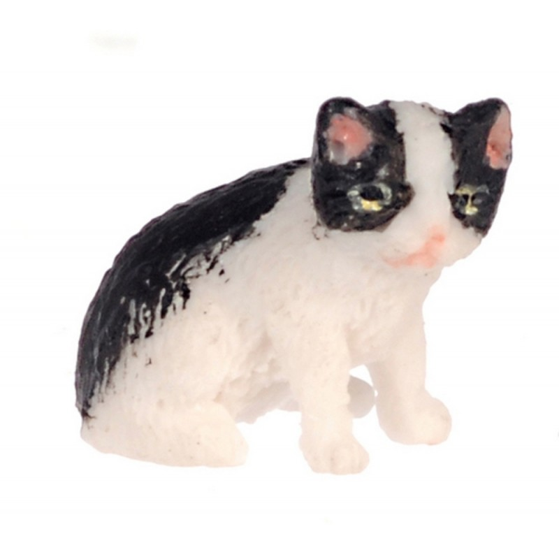 Dolls House Black & White Kitten Sitting Falcon Miniature Pet Cat 1:12 Scale
