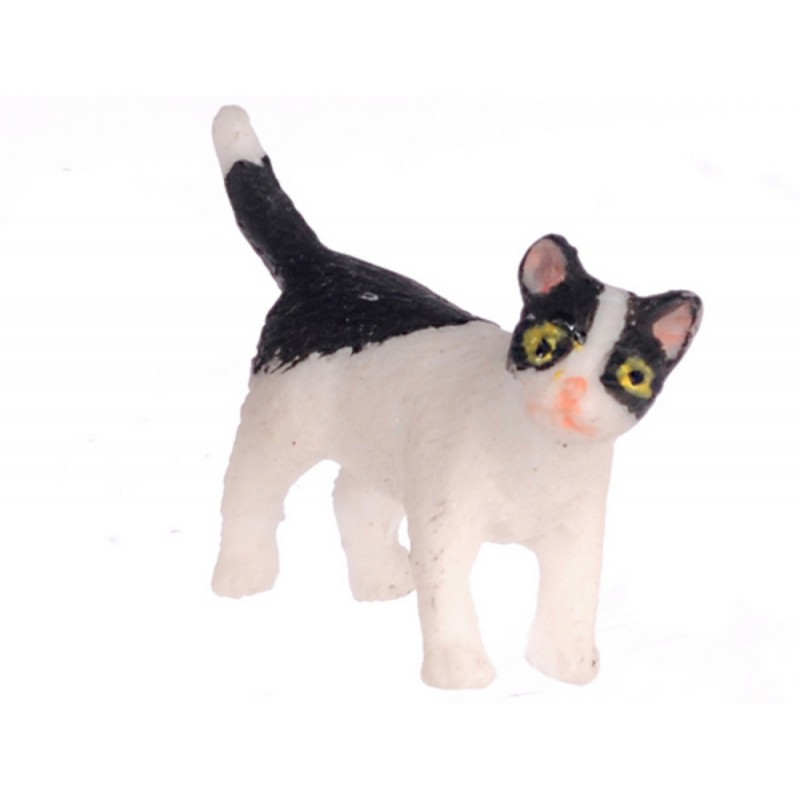 Dolls House Black & White Kitten Standing Turning Right Miniature Pet Cat 1:12
