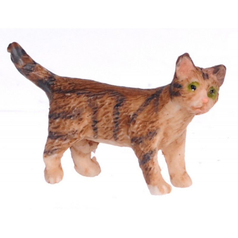 Dolls House Brown Kitten Standing Turning Right Miniature Pet Cat 1:12