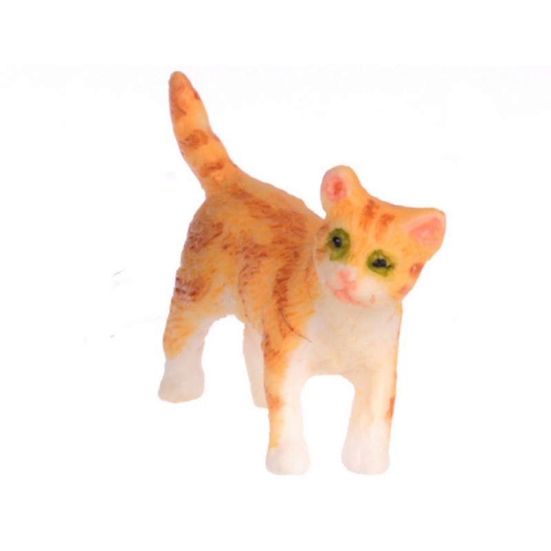 Dolls House Orange Kitten Standing Turning Right Miniature Pet Cat 1:12