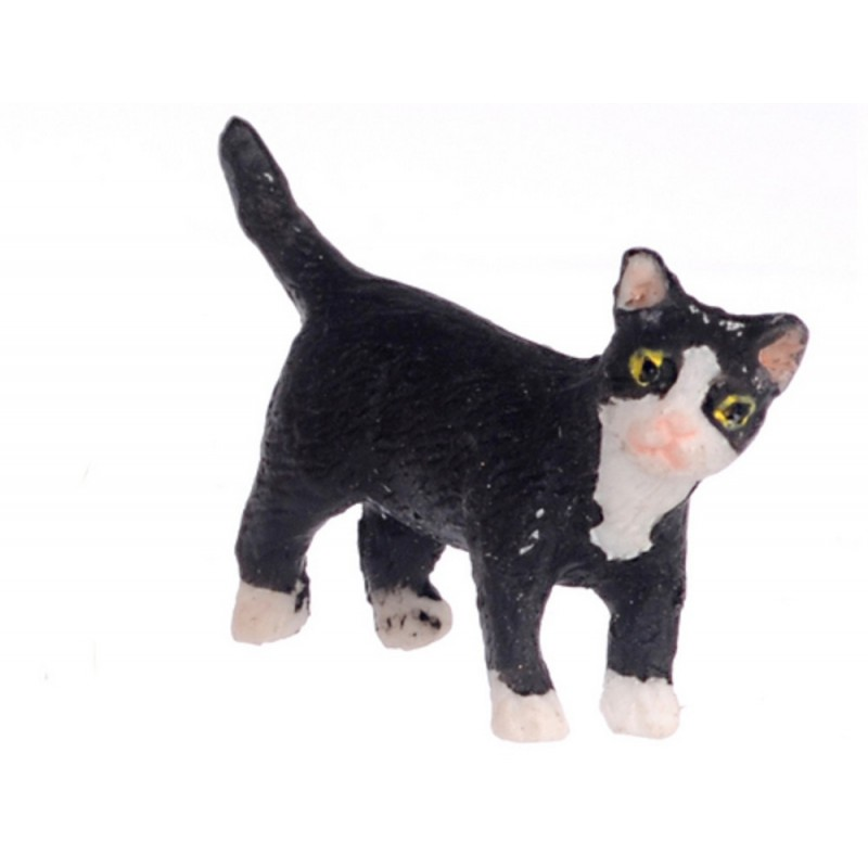 Dolls House Black Kitten White Socks Standing Turning Right Pet Cat 1:12