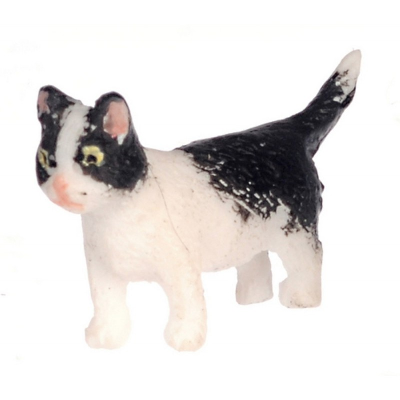 Dolls House Black & White Kitten Walking Miniature Pet Cat 1:12 Scale