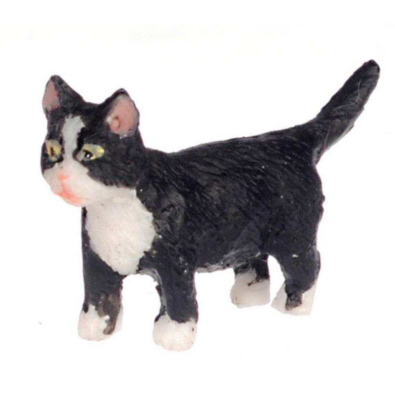 Dolls House Black Kitten White Socks Walking Miniature Pet Cat 1:12 Scale