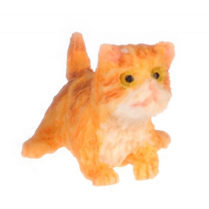 Dolls House Orange Persian Kitten Standing Miniature Pet Cat 1:12 Scale