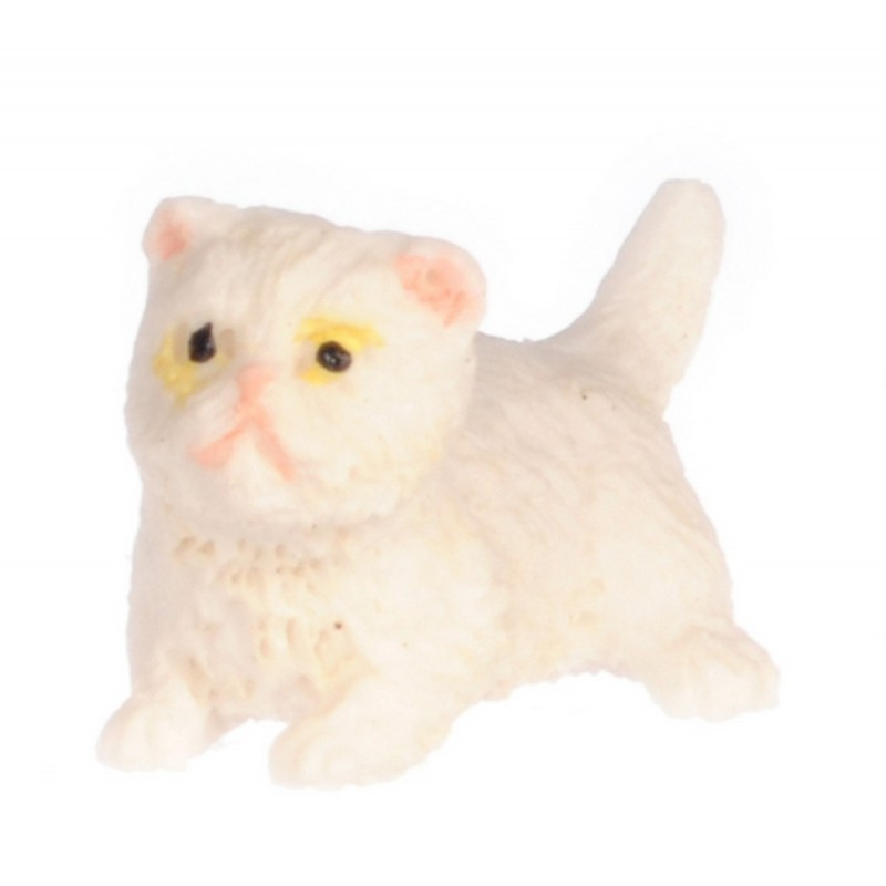 Dolls House White Persian Kitten Standing Miniature Pet Cat 1:12 Scale