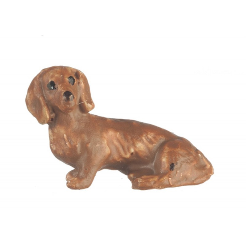 Dolls House Brown Dachshund Sitting Miniature Pet Dog 1:48 Quarter Inch Scale