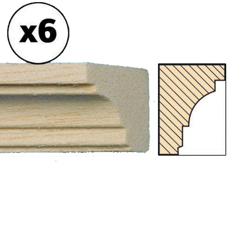 """Dolls House Cornice 11.3/4"""" x 1/2"""" Coving 300mm x 13mm Bare Wood Pack of 6"""